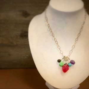 Jewelry - Colorful Stones Silver Link Necklace